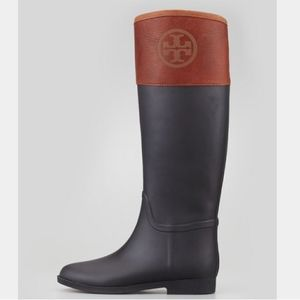 TORY BURCH~diana~RAIN & RIDING BOOT~LEATHER/RUBBER